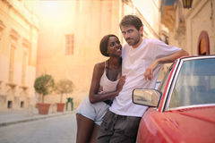Couple on the street royalty free stock image