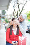 Couple in the street Royalty Free Stock Photos