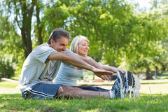 Couple stretching in the park Stock Photography