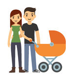 Couple with stroller Royalty Free Stock Photos