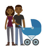Couple with stroller Royalty Free Stock Image