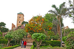 Couple strolling through the Andalusian Gardens at the edge of t Royalty Free Stock Image
