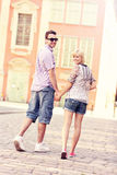 Couple strolling about the city Royalty Free Stock Image