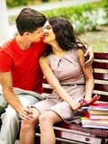 Couple student with book outdoor. Royalty Free Stock Photo