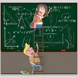 Couple students on a ladder writing on chalkboard. 3D. Couple students on a ladder writing on chalkboard . 3D Isolate. Easy background remove. Easy color change Stock Photos