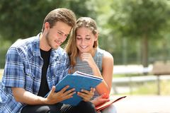 Couple of students learning together in a campus. Couple of happy students learning together sitting in a campus stock images