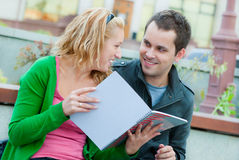 A couple of students studying. Together Stock Image