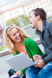 A couple of students studying. Together Stock Photography