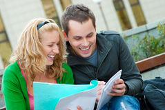 A couple of students studying Royalty Free Stock Images