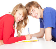 Couple students studying together Royalty Free Stock Image