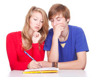 Couple students studying together Stock Image