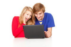 Couple students studying together with laptop Stock Photo