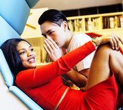 Couple students in univercity library, looking book, preparing t. O exam, having fun, making selfie, lifestyle people concept close up Royalty Free Stock Images
