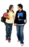 Couple of students walking Royalty Free Stock Photos