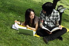 Couple studying outdoors Stock Images