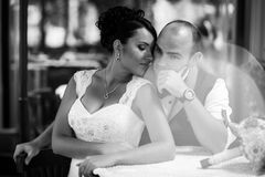Couple, stylish cafes Royalty Free Stock Photography