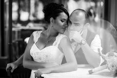 Couple, stylish cafes Royalty Free Stock Photography