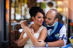 Couple, stylish cafes Royalty Free Stock Image