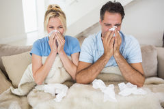 Couple suffering from cold in bed Stock Photos