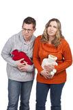 Couple suffering from stomach pain Stock Photography