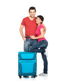 Couple with suitcase  going to travel Royalty Free Stock Photos