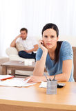 Couple sulking after doing their account together Stock Image