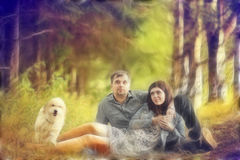 Couple in summer forest Stock Photography