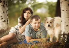 Couple in summer forest Stock Photos