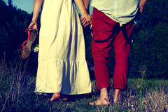 Couple in summer landscape. Couple walking in summer landscape Stock Photo