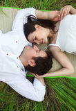 Couple on the summer medow Stock Photo