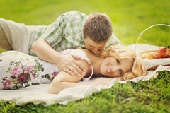 Couple on summer picnic Stock Image