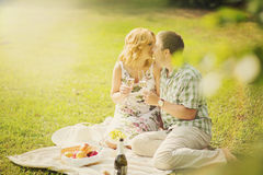 Couple on summer picnic Royalty Free Stock Image