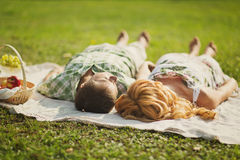 Couple on summer picnic Royalty Free Stock Photo