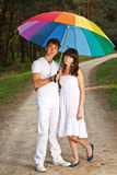 Couple in the summer rain Royalty Free Stock Photography