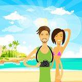 Couple summer travel vacation sea ocean beach man Stock Photos