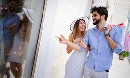 Couple on summer vacation enjoying travel and shopping stock image
