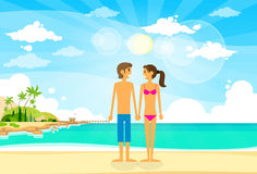 Couple On Summer Vacation Holiday Tropical Ocean Stock Photos