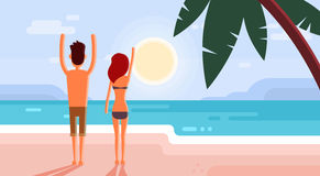 Couple On Summer Vacation Holiday Tropical Ocean Island Sunset With Palm Tree Stock Photo