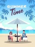 Couple summer vacation man woman drink wine umbrella on sunrise beach tropical island vertical flat Royalty Free Illustration