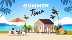 Couple summer vacation man woman drink wine umbrella on sunrise beach villa house tropical island horizontal flat. Vector illustration royalty free illustration