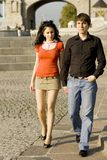 Couple on summer walk. Young smiling couple on summer walk Royalty Free Stock Images