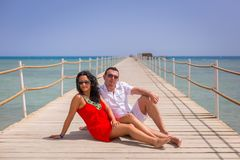 Couple on sun holidays at Red Sea Royalty Free Stock Photos