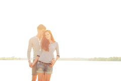 Couple in sunny day. Lovely young couple in sunny day on beach Royalty Free Stock Photography