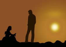 Couple at Sunset. Couple on the beach at sunset in illustration work Royalty Free Stock Image