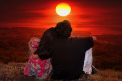 Couple Sunset stock photo