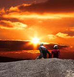 Couple on sunset. Couple looking on beautiful sunset Royalty Free Stock Photography