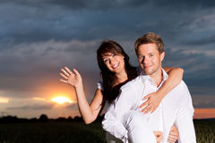 Couple in the sunset Stock Photos