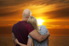 Couple in the Sunset Royalty Free Stock Photo