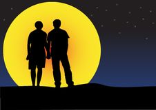 Couple sunset silhouette Stock Images
