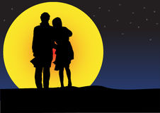 Couple sunset silhouette Royalty Free Stock Image